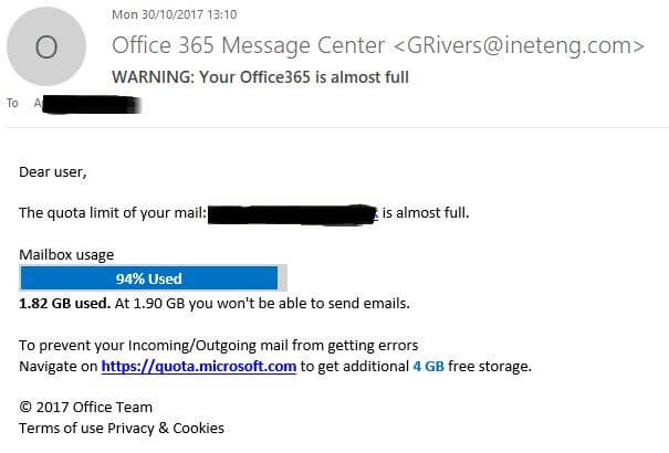 Office 365 almost full